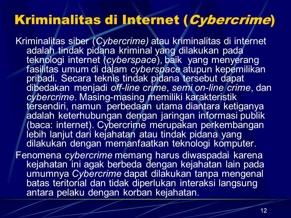Kriminalitas di Internet (Cybercrime)