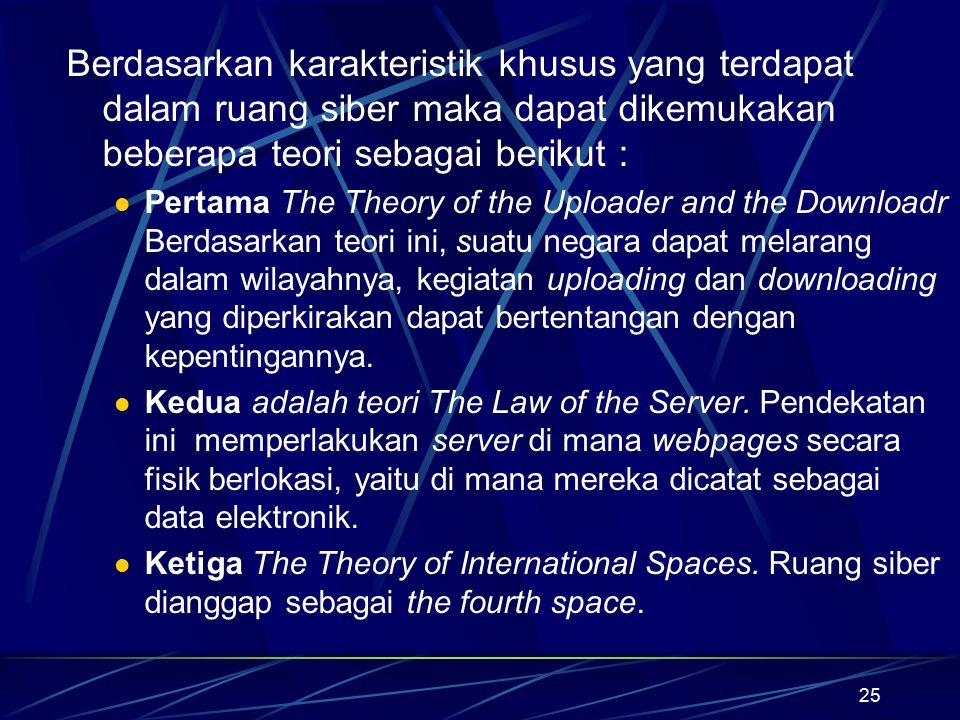 Berdasarkan karakteristik khusus yang terdapat dalam ruang siber maka dapat dikemukakan beberapa teori sebagai berikut :