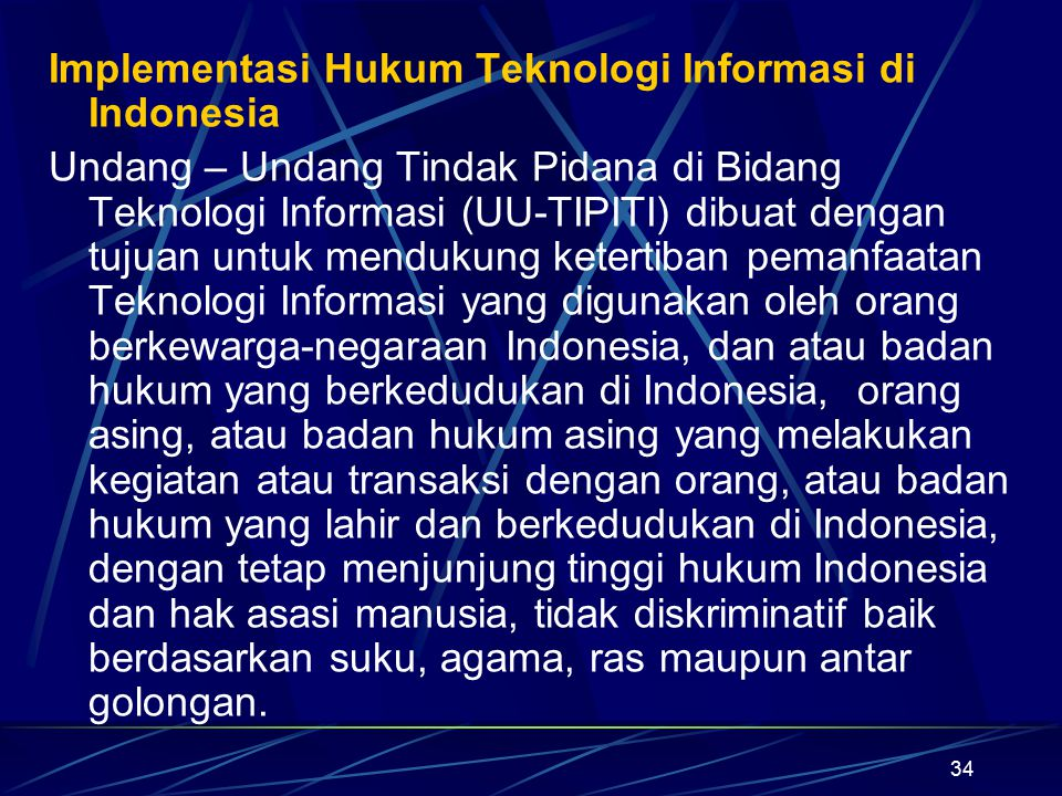 Implementasi Hukum Teknologi Informasi di Indonesia