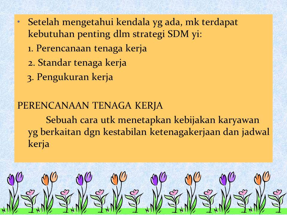 Setelah mengetahui kendala yg ada, mk terdapat kebutuhan penting dlm strategi SDM yi: