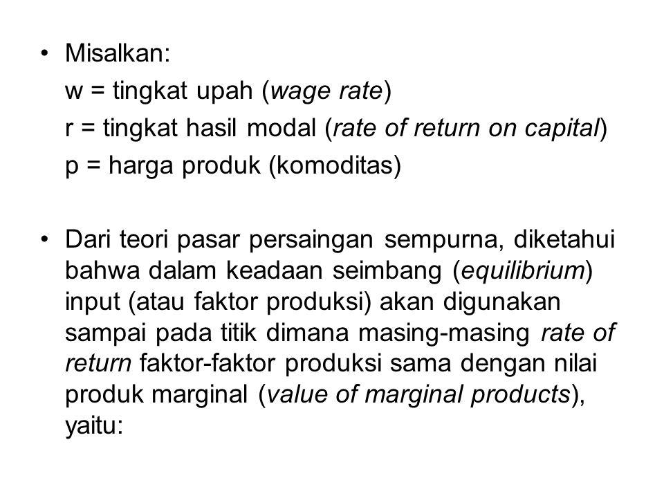 Misalkan: w = tingkat upah (wage rate) r = tingkat hasil modal (rate of return on capital) p = harga produk (komoditas)