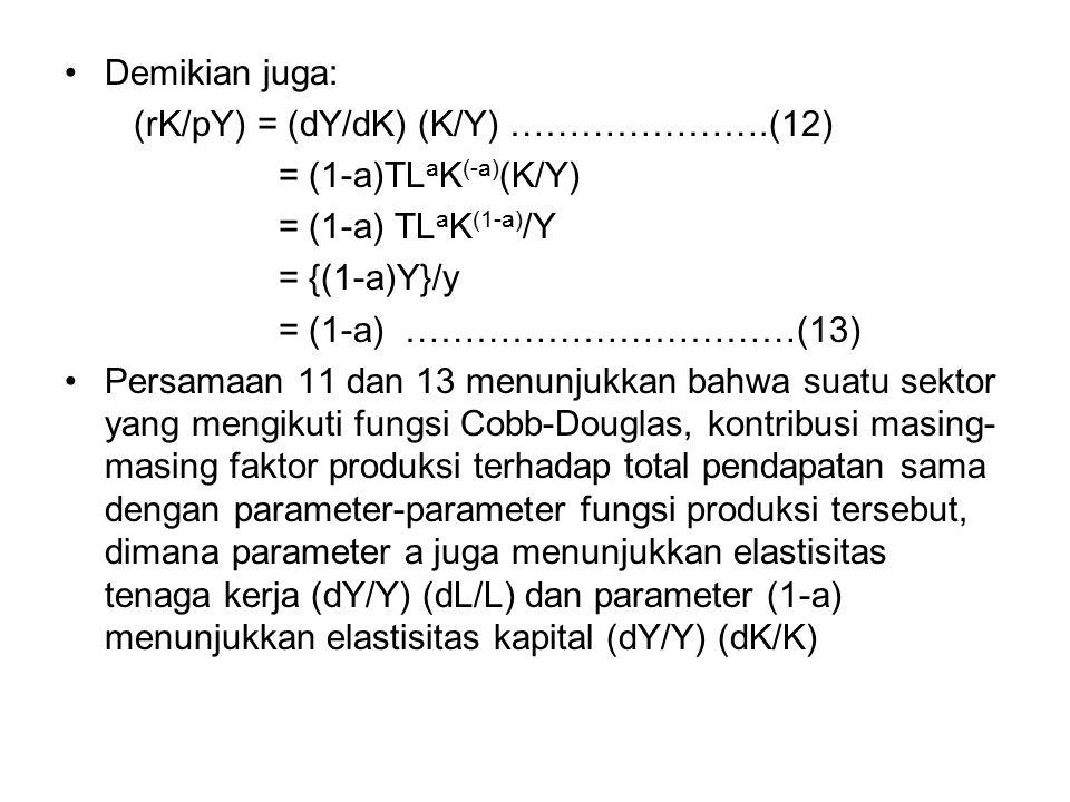 Demikian juga: (rK/pY) = (dY/dK) (K/Y) ………………….(12) = (1-a)TLaK(-a)(K/Y) = (1-a) TLaK(1-a)/Y. = {(1-a)Y}/y.