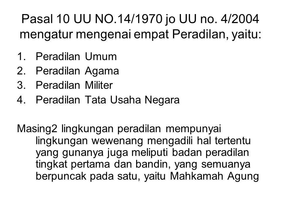 Pasal 10 UU NO.14/1970 jo UU no. 4/2004 mengatur mengenai empat Peradilan, yaitu: