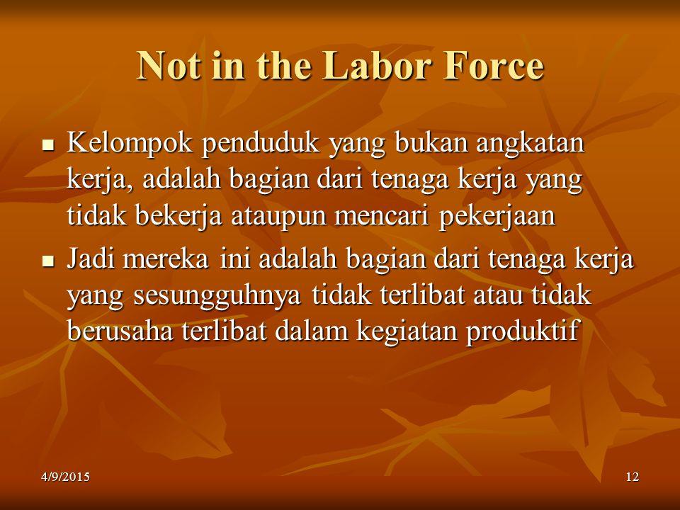 Not in the Labor Force Kelompok penduduk yang bukan angkatan kerja, adalah bagian dari tenaga kerja yang tidak bekerja ataupun mencari pekerjaan.