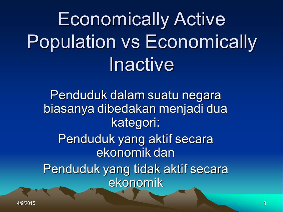 Economically Active Population vs Economically Inactive