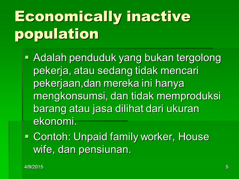 Economically inactive population