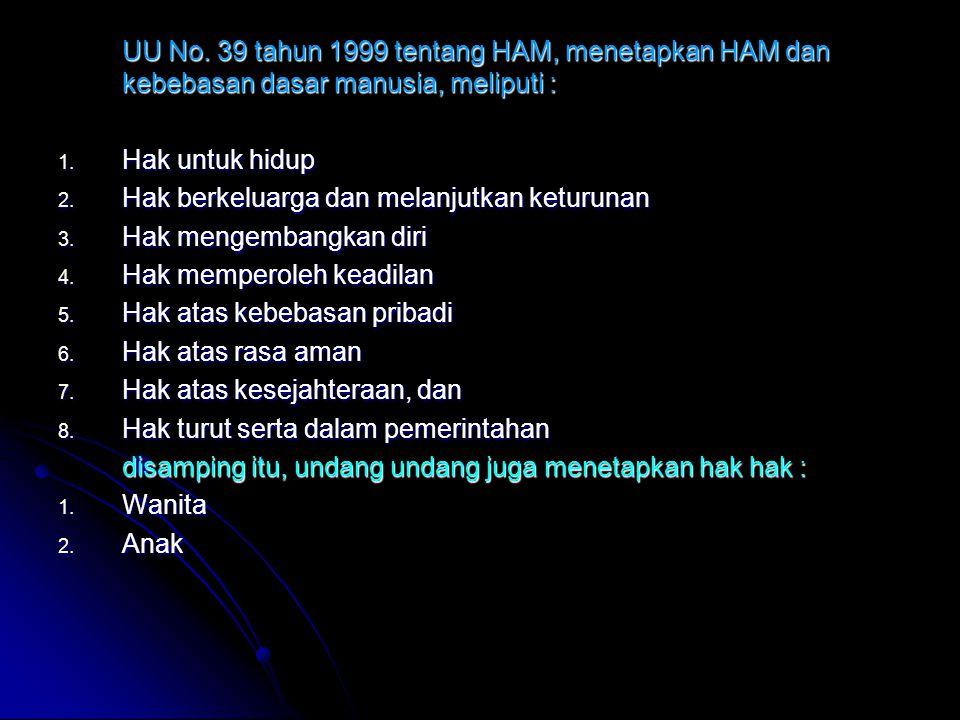 UU No. 39 tahun 1999 tentang HAM, menetapkan HAM dan kebebasan dasar manusia, meliputi :