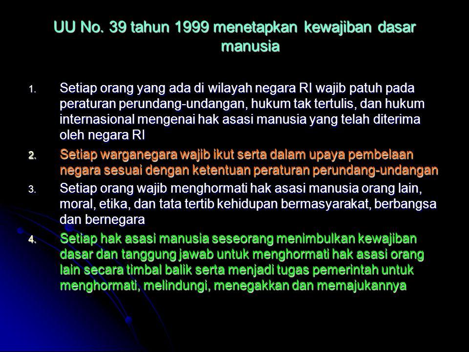 UU No. 39 tahun 1999 menetapkan kewajiban dasar manusia