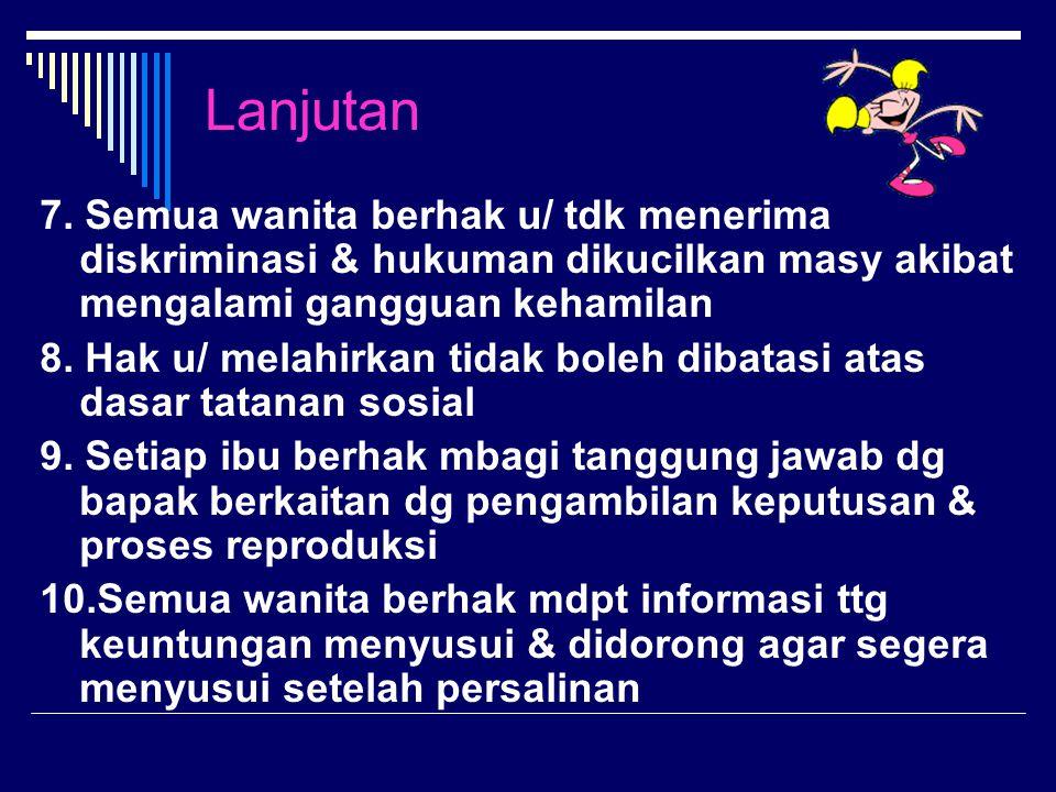 Lanjutan 7. Semua wanita berhak u/ tdk menerima diskriminasi & hukuman dikucilkan masy akibat mengalami gangguan kehamilan.