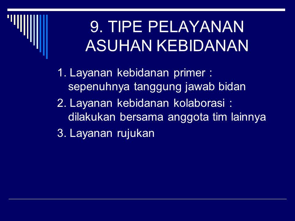 9. TIPE PELAYANAN ASUHAN KEBIDANAN
