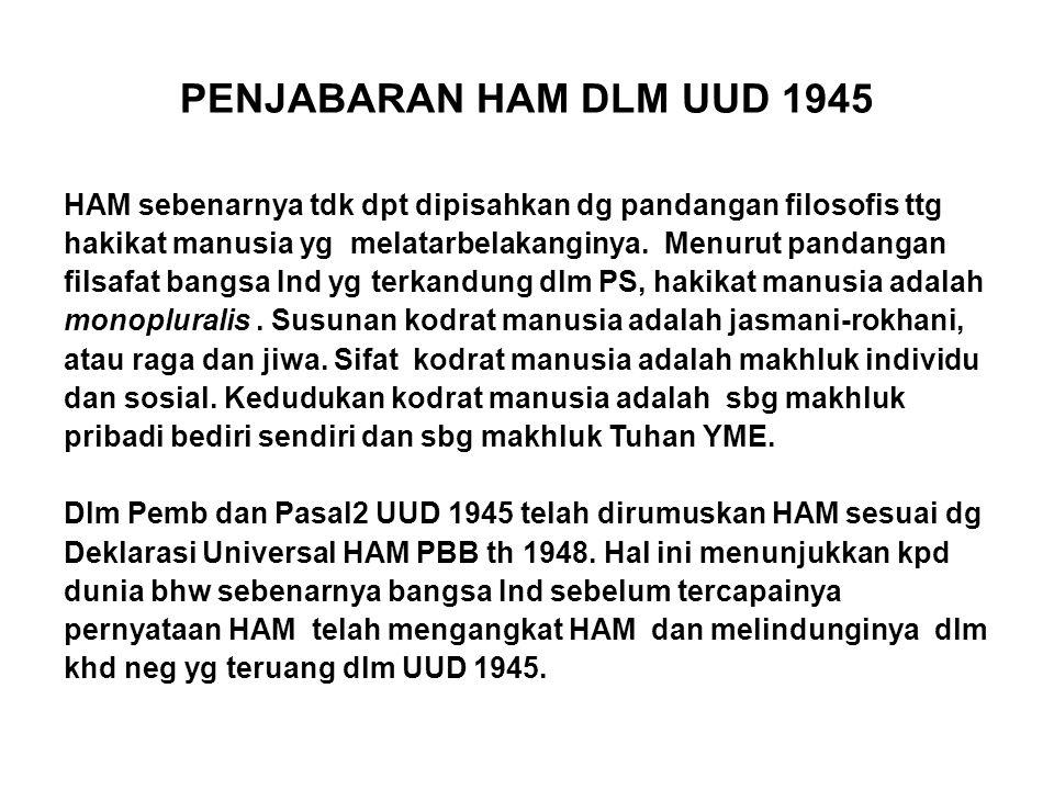 PENJABARAN HAM DLM UUD 1945