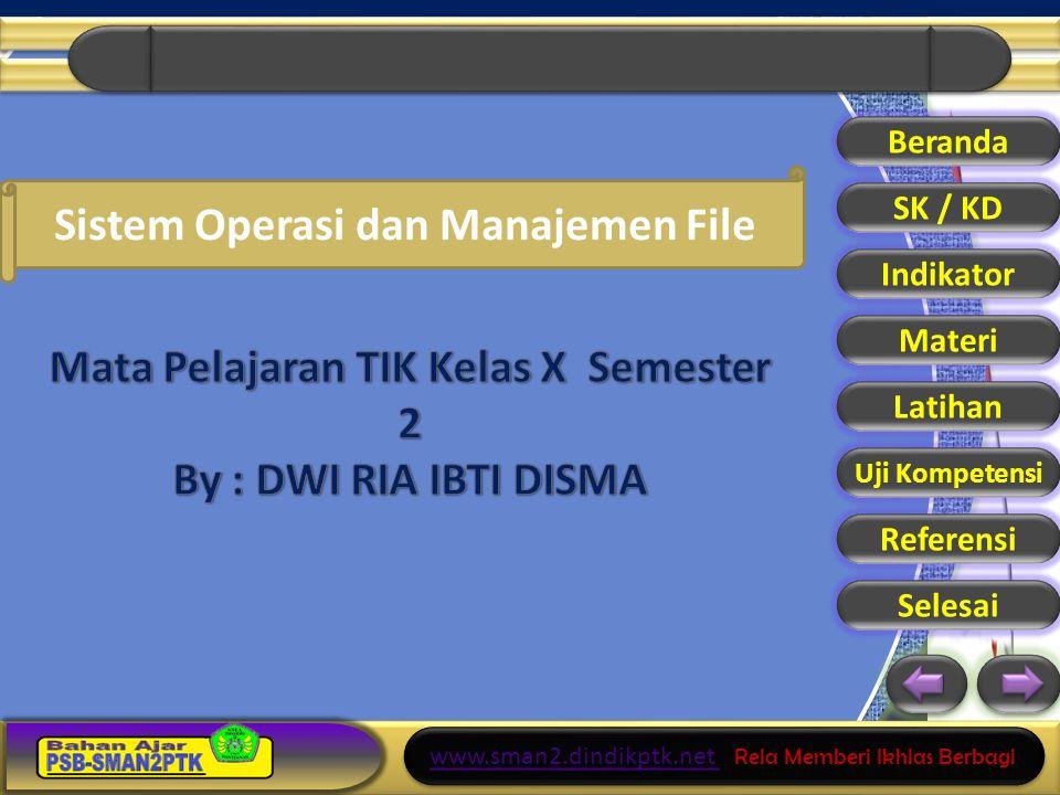 Mata Pelajaran TIK Kelas X Semester 2 By : DWI RIA IBTI DISMA