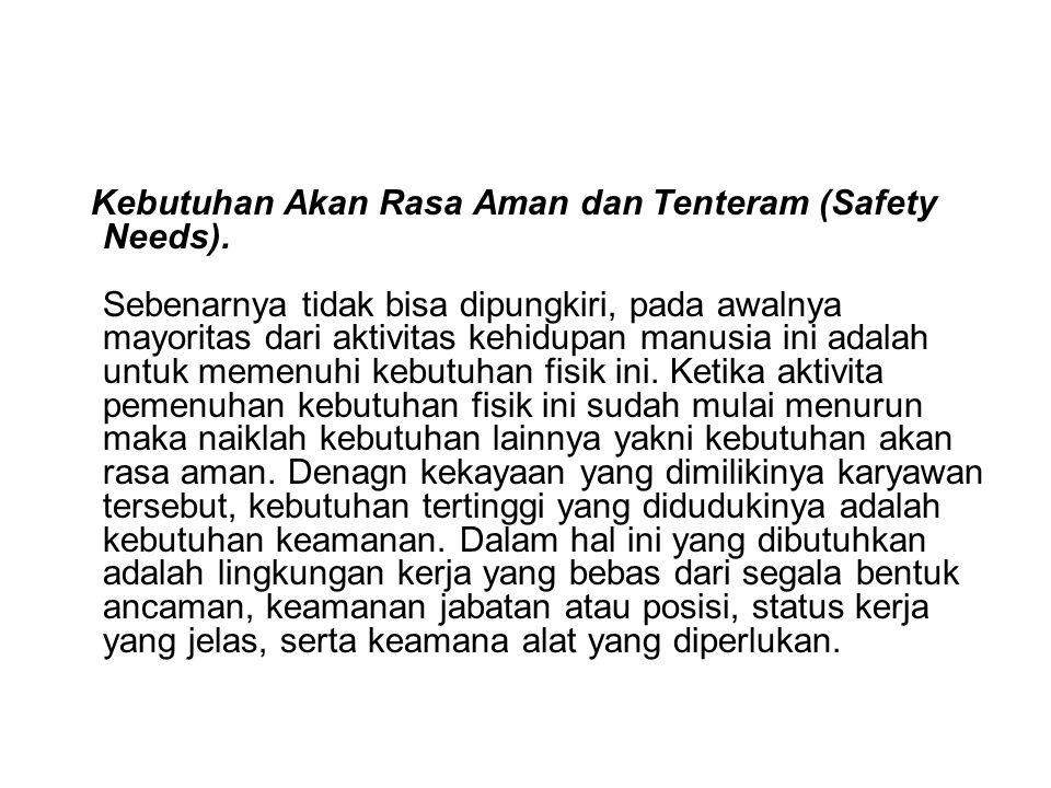 Kebutuhan Akan Rasa Aman dan Tenteram (Safety Needs)