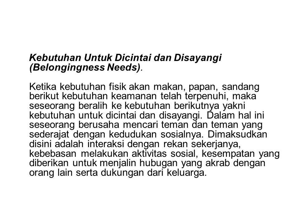 Kebutuhan Untuk Dicintai dan Disayangi (Belongingness Needs)