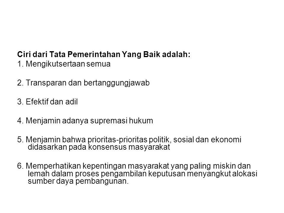 Ciri dari Tata Pemerintahan Yang Baik adalah: