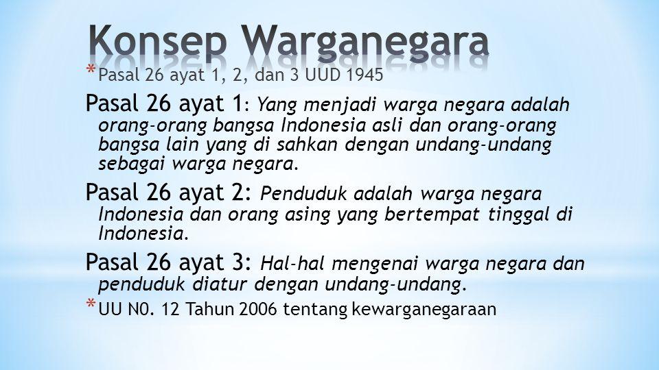 Konsep Warganegara Pasal 26 ayat 1, 2, dan 3 UUD 1945.