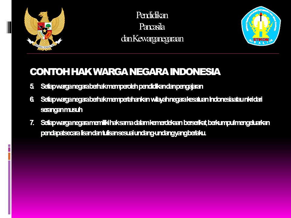 CONTOH HAK WARGA NEGARA INDONESIA
