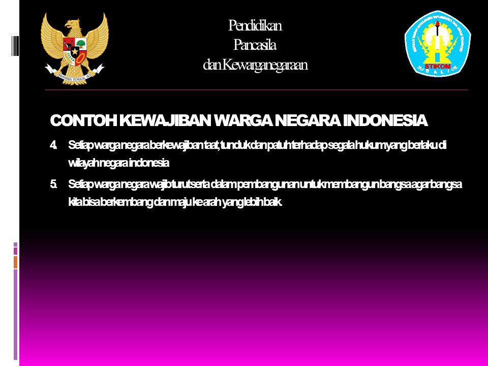 CONTOH KEWAJIBAN WARGA NEGARA INDONESIA