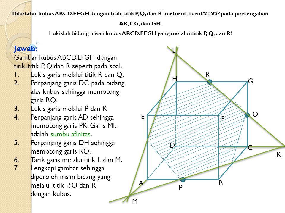 Jawab: Gambar kubus ABCD.EFGH dengan