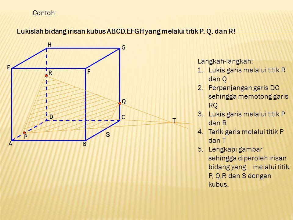 Lukislah bidang irisan kubus ABCD.EFGH yang melalui titik P, Q, dan R!