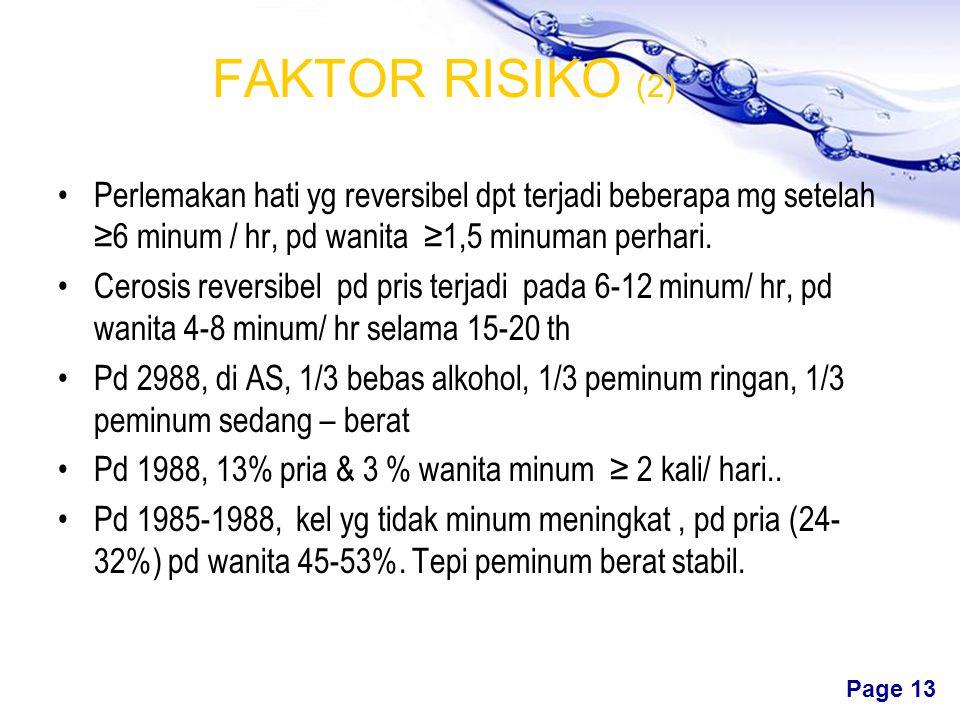 FAKTOR RISIKO (2) Perlemakan hati yg reversibel dpt terjadi beberapa mg setelah ≥6 minum / hr, pd wanita ≥1,5 minuman perhari.