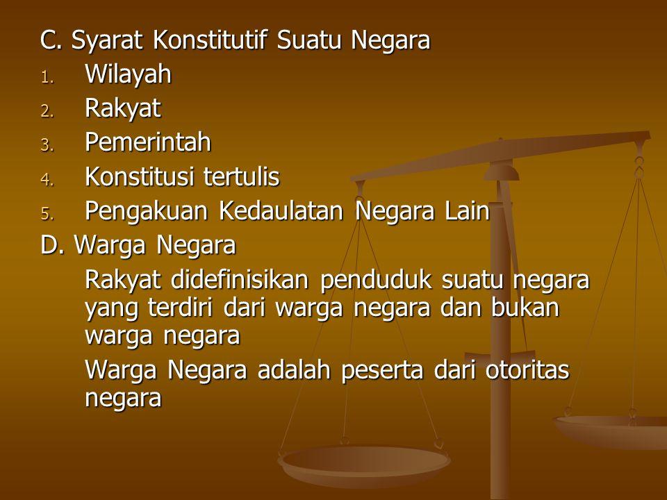 C. Syarat Konstitutif Suatu Negara