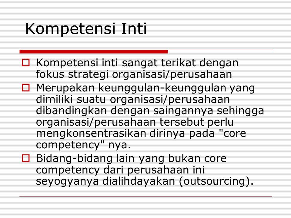 Kompetensi Inti Kompetensi inti sangat terikat dengan fokus strategi organisasi/perusahaan.
