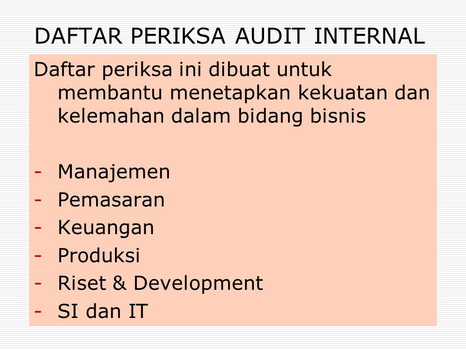 DAFTAR PERIKSA AUDIT INTERNAL