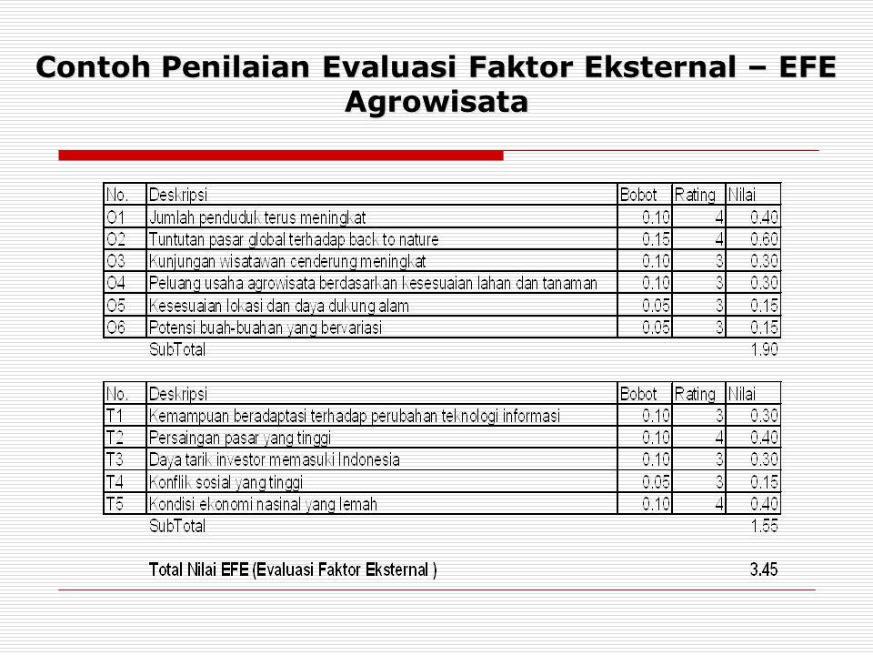 Contoh Penilaian Evaluasi Faktor Eksternal – EFE Agrowisata
