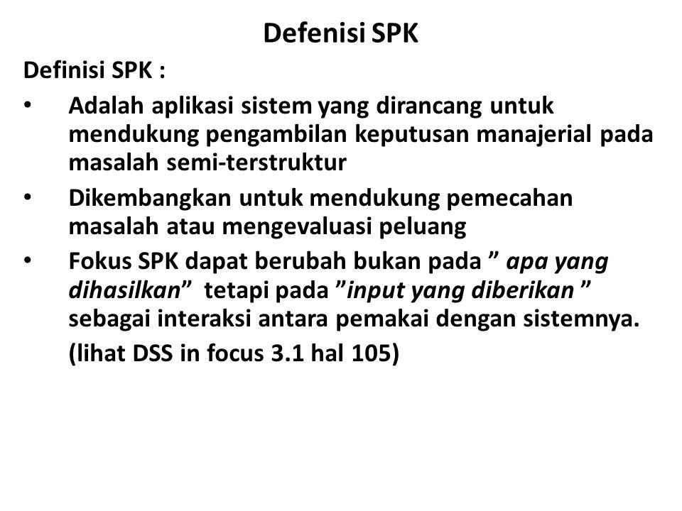Defenisi SPK Definisi SPK :
