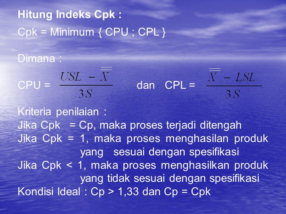 Hitung Indeks Cpk : Cpk = Minimum { CPU ; CPL } Dimana : CPU = dan CPL =