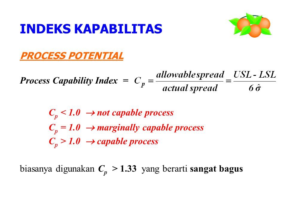 INDEKS KAPABILITAS PROCESS POTENTIAL Process Capability Index =