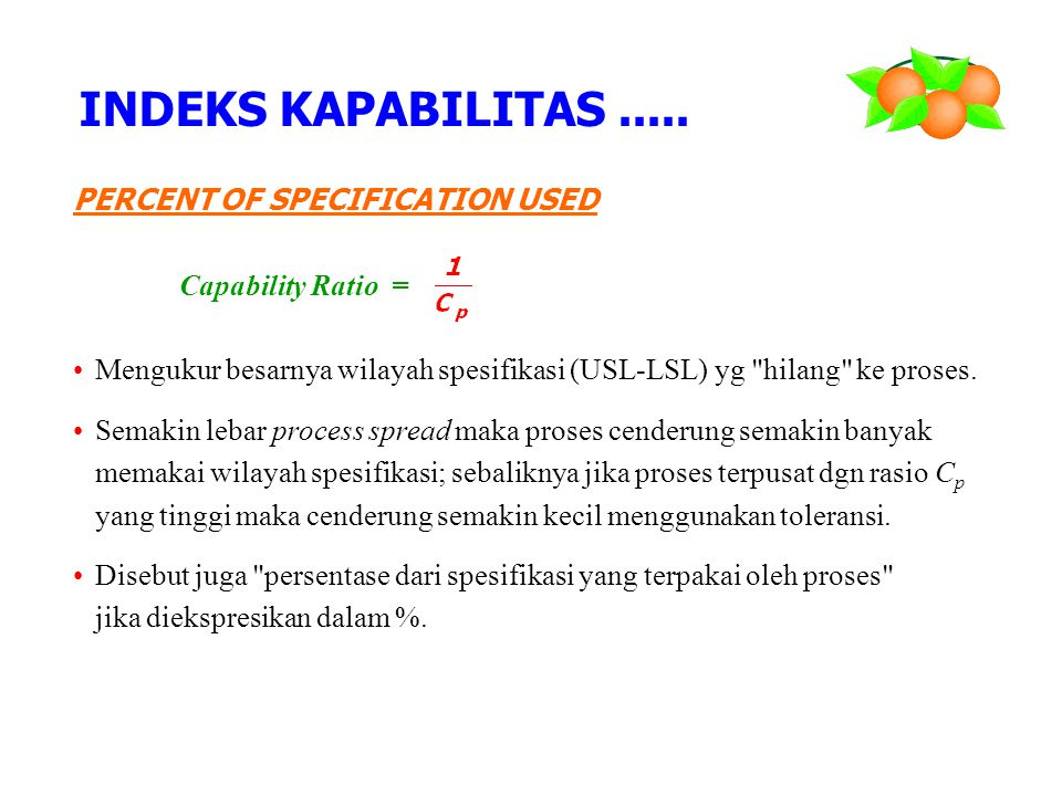 INDEKS KAPABILITAS ..... PERCENT OF SPECIFICATION USED
