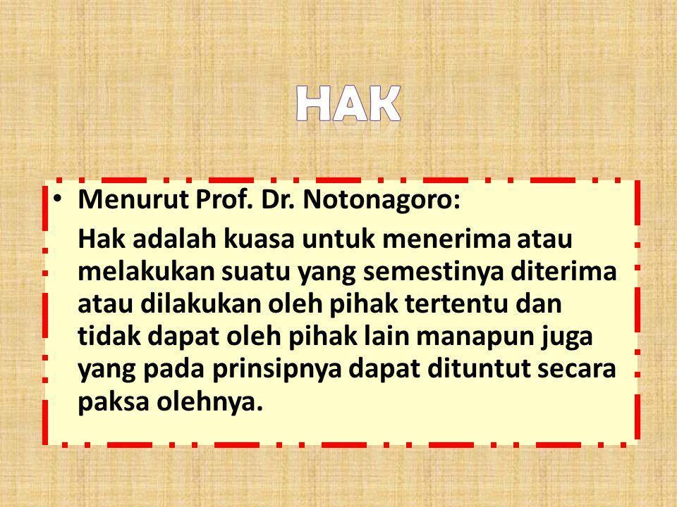 Hak Menurut Prof. Dr. Notonagoro: