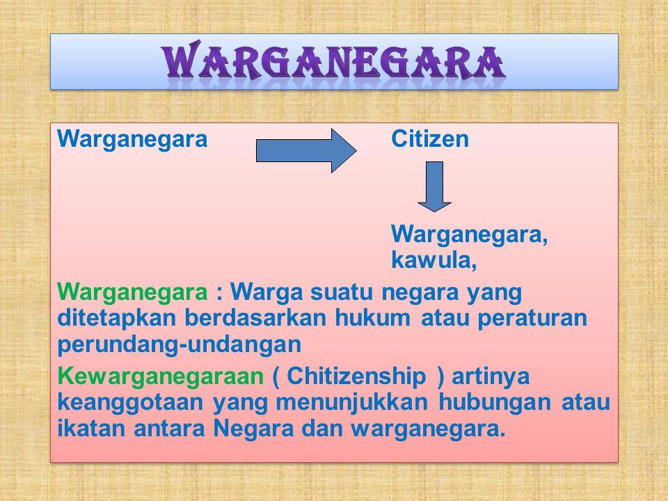 Warganegara Warganegara Citizen Warganegara, kawula,