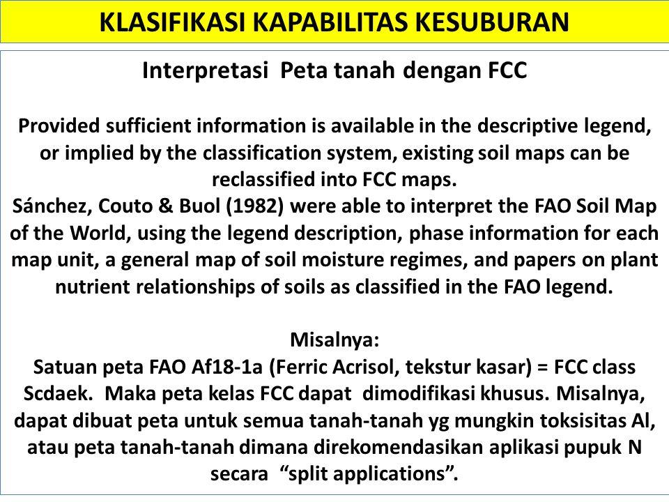 KLASIFIKASI KAPABILITAS KESUBURAN Interpretasi Peta tanah dengan FCC
