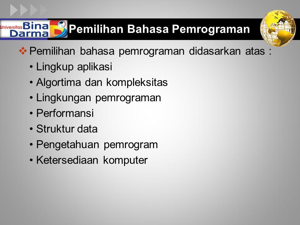 Pemilihan Bahasa Pemrograman
