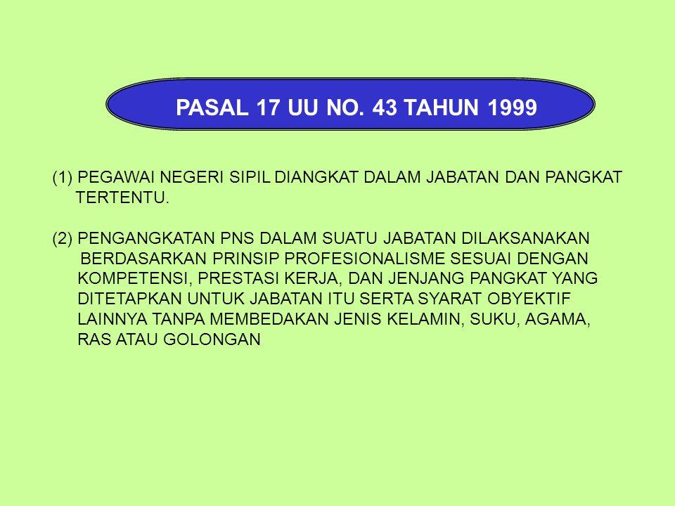 PASAL 17 UU NO. 43 TAHUN 1999 PEGAWAI NEGERI SIPIL DIANGKAT DALAM JABATAN DAN PANGKAT. TERTENTU.