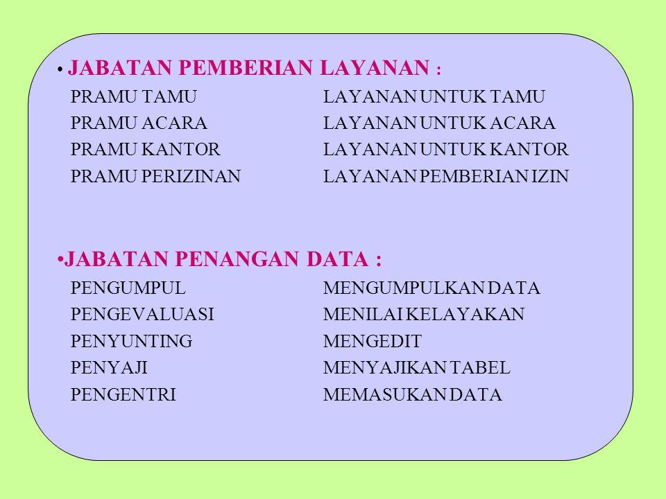 JABATAN PENANGAN DATA :