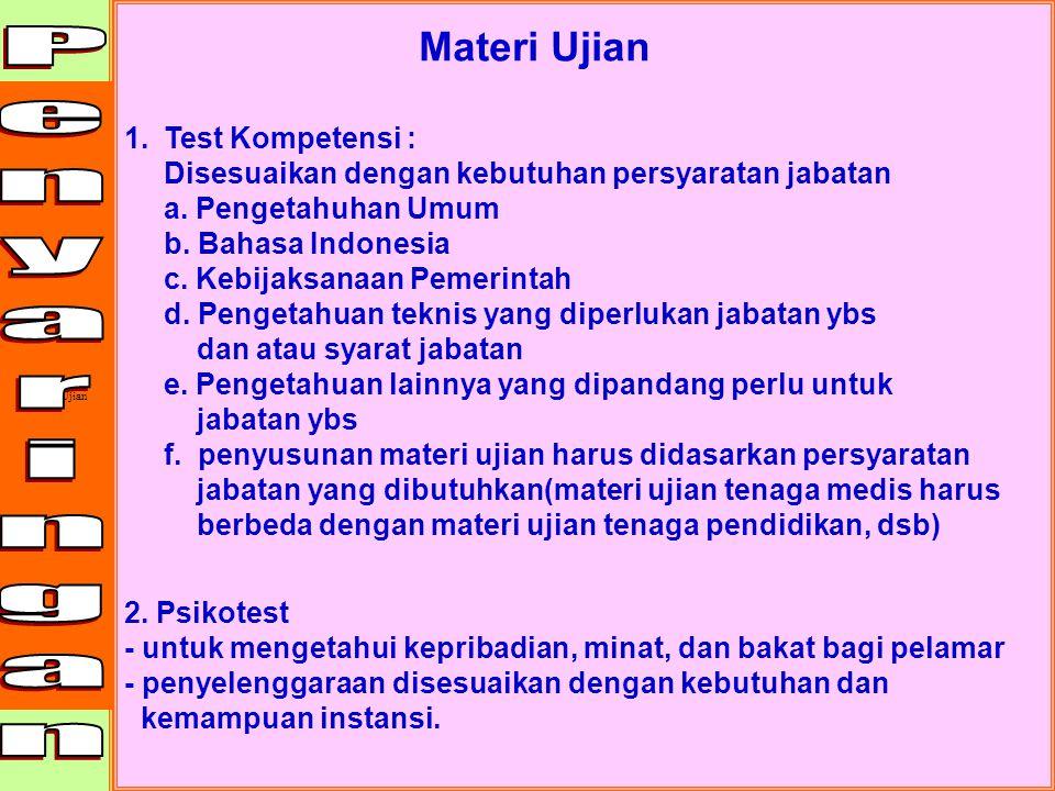 Penyaringan Materi Ujian Test Kompetensi :