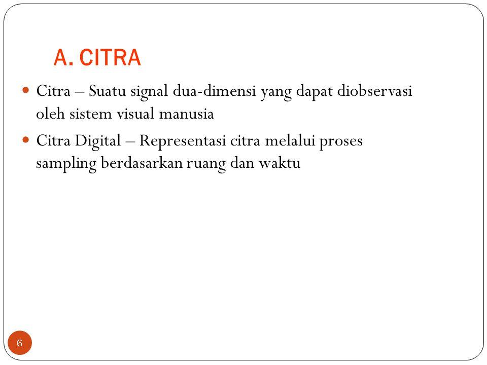 A. CITRA Citra – Suatu signal dua-dimensi yang dapat diobservasi oleh sistem visual manusia.