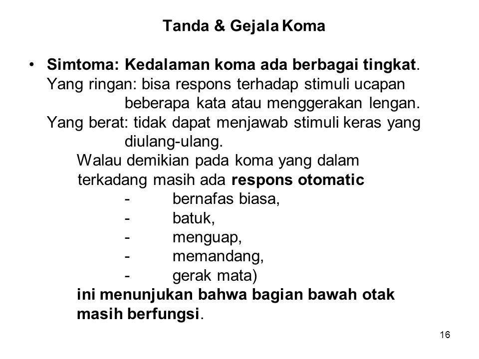 Tanda & Gejala Koma Simtoma: Kedalaman koma ada berbagai tingkat. Yang ringan: bisa respons terhadap stimuli ucapan.