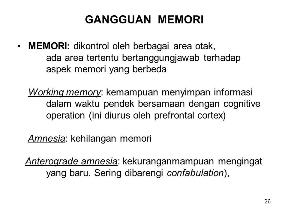 GANGGUAN MEMORI MEMORI: dikontrol oleh berbagai area otak,