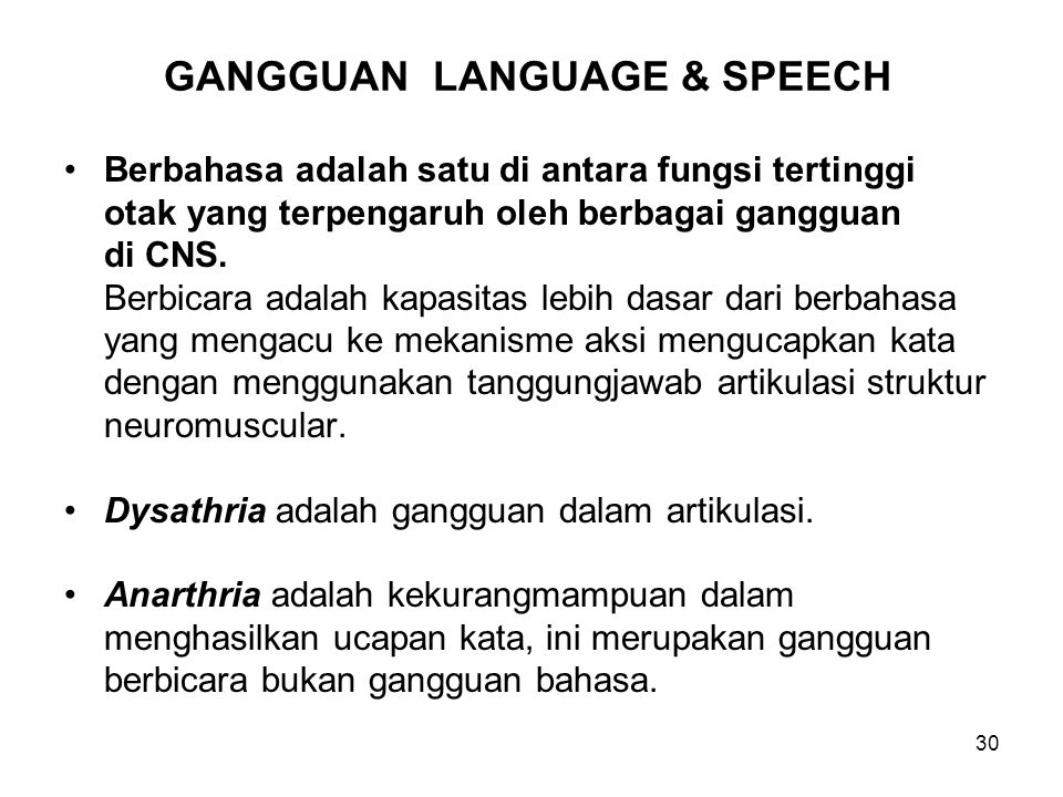 GANGGUAN LANGUAGE & SPEECH