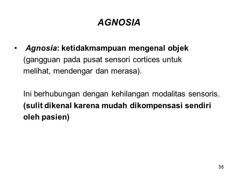 AGNOSIA Agnosia: ketidakmampuan mengenal objek