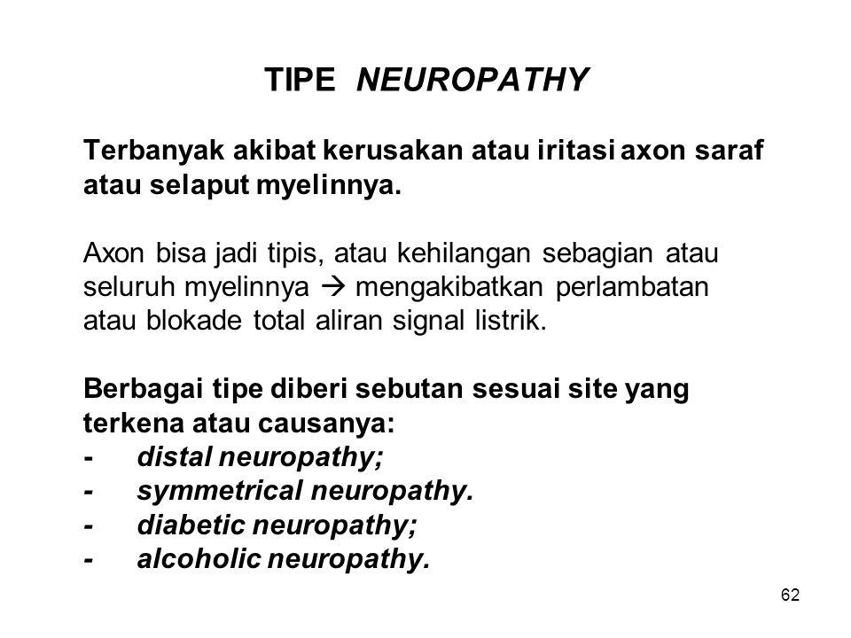 TIPE NEUROPATHY Terbanyak akibat kerusakan atau iritasi axon saraf