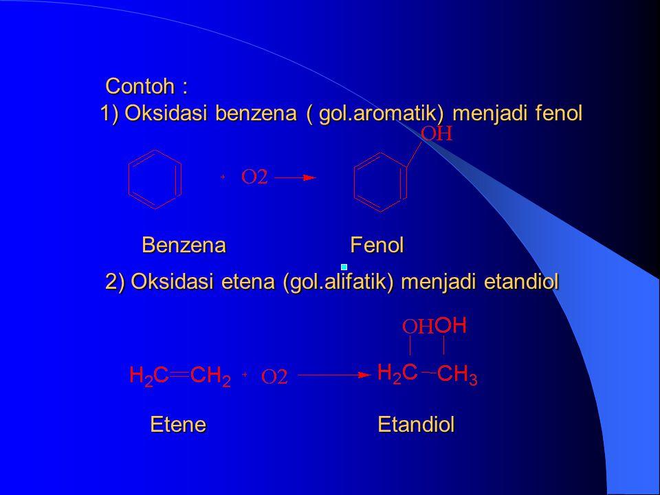 Contoh : 1) Oksidasi benzena ( gol