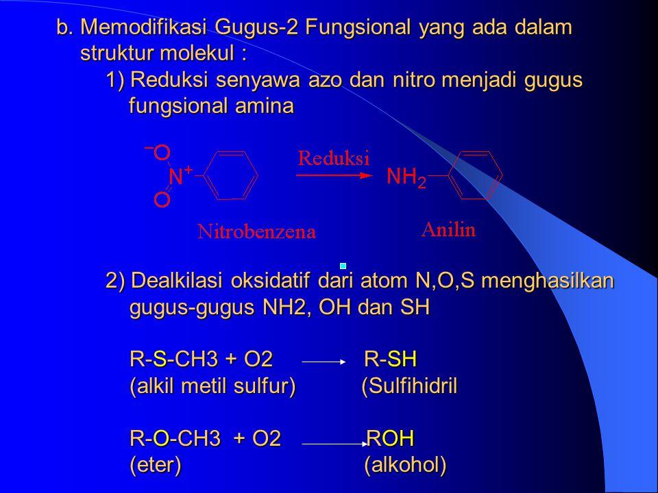 b. Memodifikasi Gugus-2 Fungsional yang ada dalam struktur molekul : 1) Reduksi senyawa azo dan nitro menjadi gugus fungsional amina