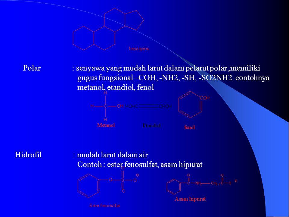 Polar : senyawa yang mudah larut dalam pelarut polar ,memiliki gugus fungsional –COH, -NH2, -SH, -SO2NH2 contohnya metanol, etandiol, fenol Hidrofil : mudah larut dalam air Contoh : ester fenosulfat, asam hipurat