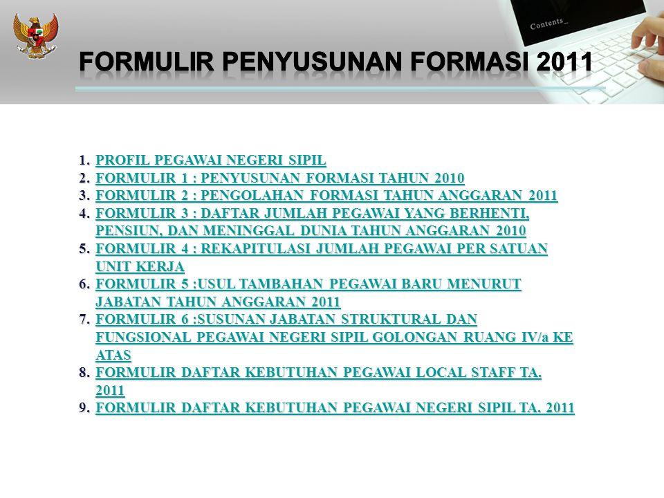 FORMULIR PENYUSUNAN FORMASI 2011